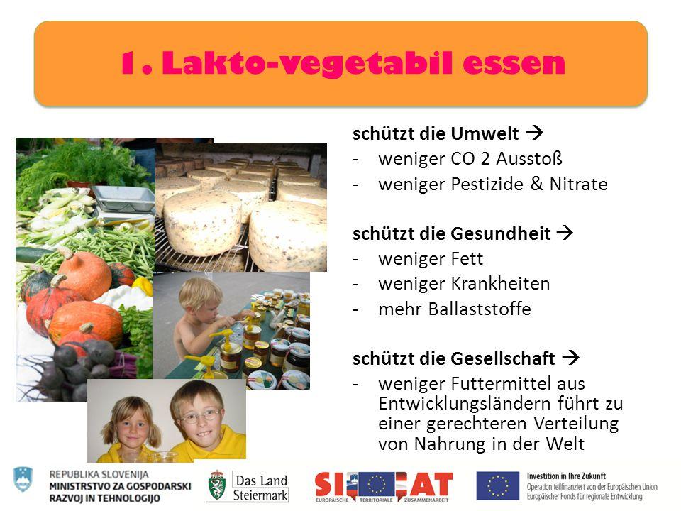schützt die Umwelt  -weniger CO 2 Ausstoß -weniger Pestizide & Nitrate schützt die Gesundheit  -weniger Fett -weniger Krankheiten -mehr Ballaststoff