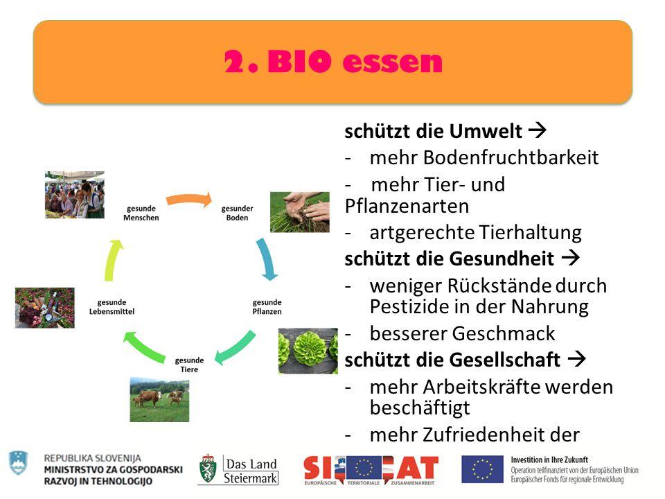 schützt die Umwelt  -mehr Bodenfruchtbarkeit - mehr Tier- und Pflanzenarten -artgerechte Tierhaltung schützt die Gesundheit  -weniger Rückstände dur