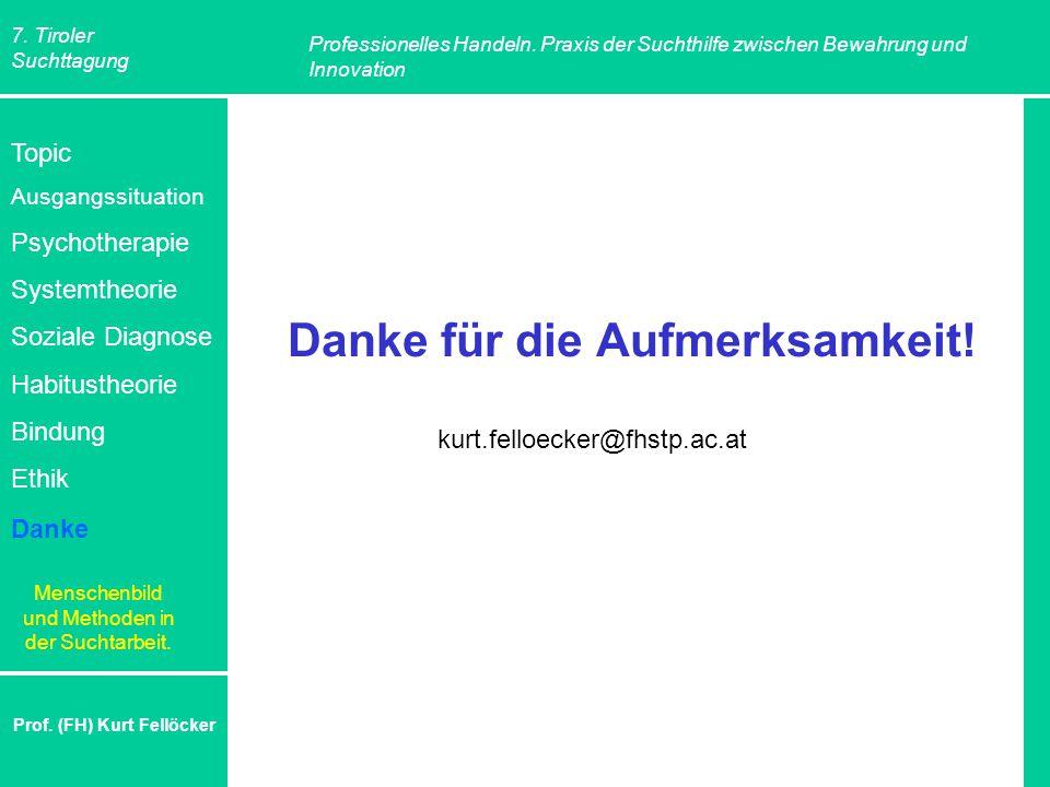 7. Tiroler Suchttagung Professionelles Handeln. Praxis der Suchthilfe zwischen Bewahrung und Innovation Prof. (FH) Kurt Fellöcker Danke für die Aufmer