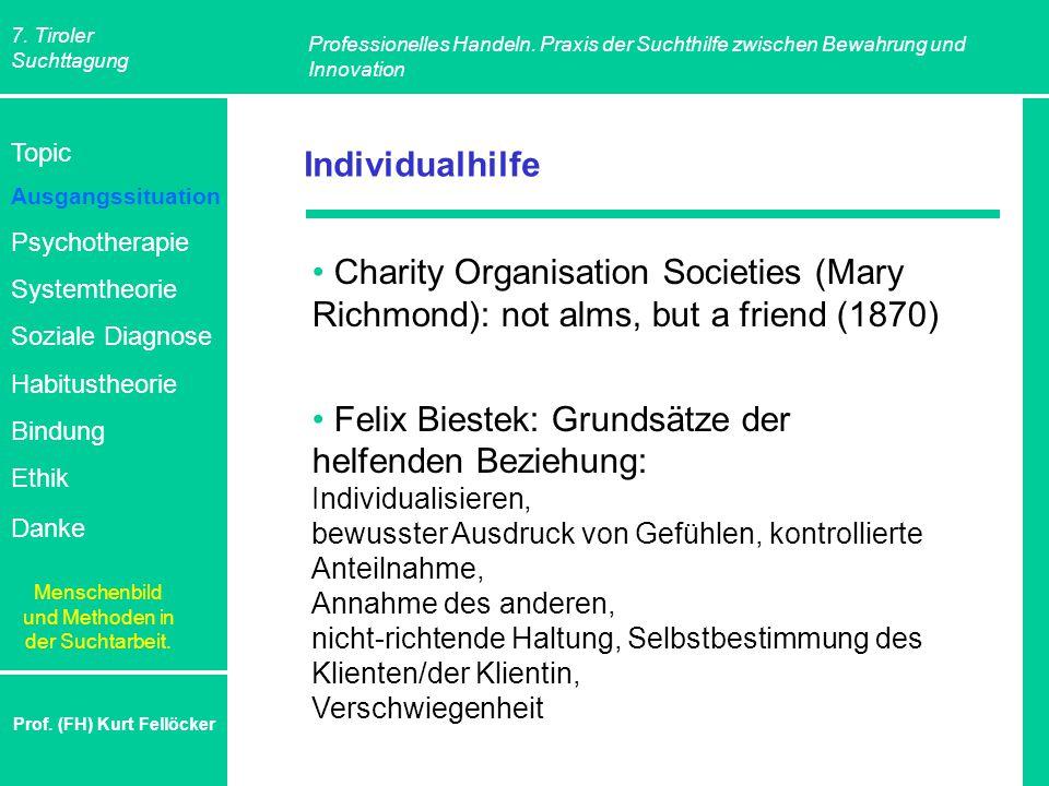 7. Tiroler Suchttagung Professionelles Handeln. Praxis der Suchthilfe zwischen Bewahrung und Innovation Prof. (FH) Kurt Fellöcker Individualhilfe Char