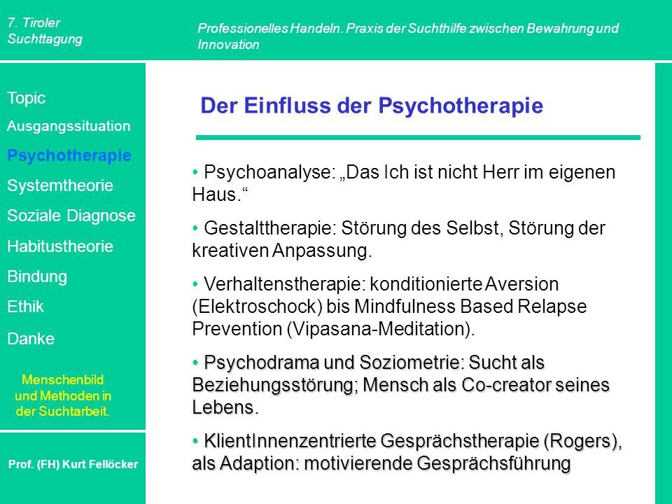 7. Tiroler Suchttagung Professionelles Handeln. Praxis der Suchthilfe zwischen Bewahrung und Innovation Prof. (FH) Kurt Fellöcker Der Einfluss der Psy