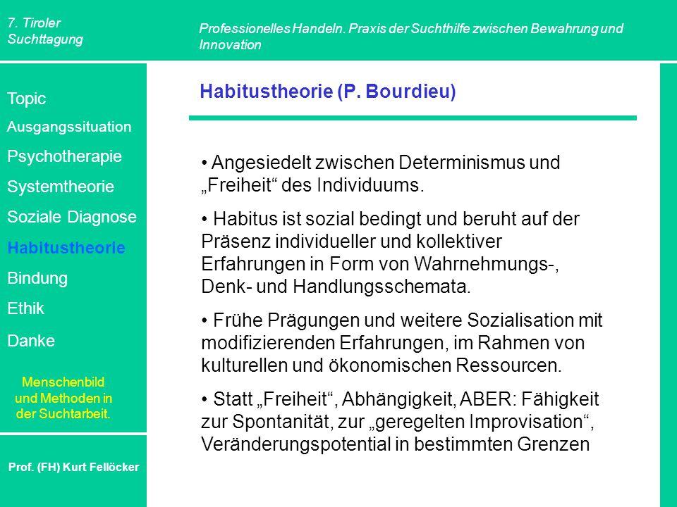 7. Tiroler Suchttagung Professionelles Handeln. Praxis der Suchthilfe zwischen Bewahrung und Innovation Prof. (FH) Kurt Fellöcker Habitustheorie (P. B