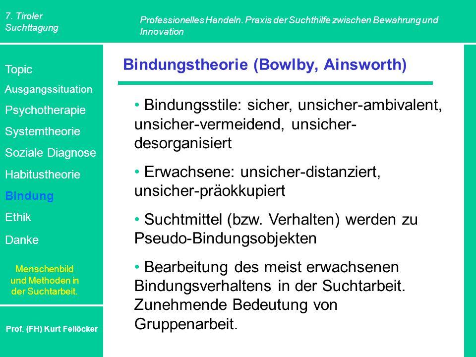 7. Tiroler Suchttagung Professionelles Handeln. Praxis der Suchthilfe zwischen Bewahrung und Innovation Prof. (FH) Kurt Fellöcker Bindungstheorie (Bow