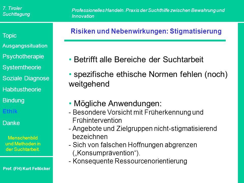 7. Tiroler Suchttagung Professionelles Handeln. Praxis der Suchthilfe zwischen Bewahrung und Innovation Prof. (FH) Kurt Fellöcker Risiken und Nebenwir