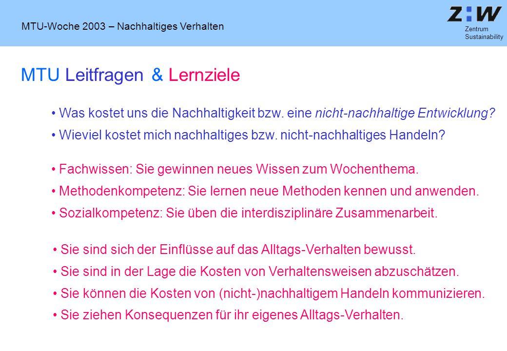 MTU-Woche 2003 – Nachhaltiges Verhalten Zentrum Sustainability Sozio-ökonomisches Verhalten (Suter, 2000) (Strahm, 1992)