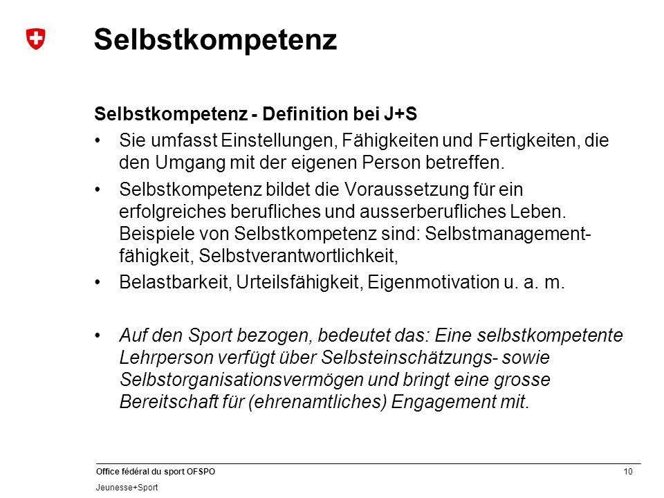 10 Office fédéral du sport OFSPO Jeunesse+Sport Selbstkompetenz Selbstkompetenz - Definition bei J+S Sie umfasst Einstellungen, Fähigkeiten und Fertigkeiten, die den Umgang mit der eigenen Person betreffen.