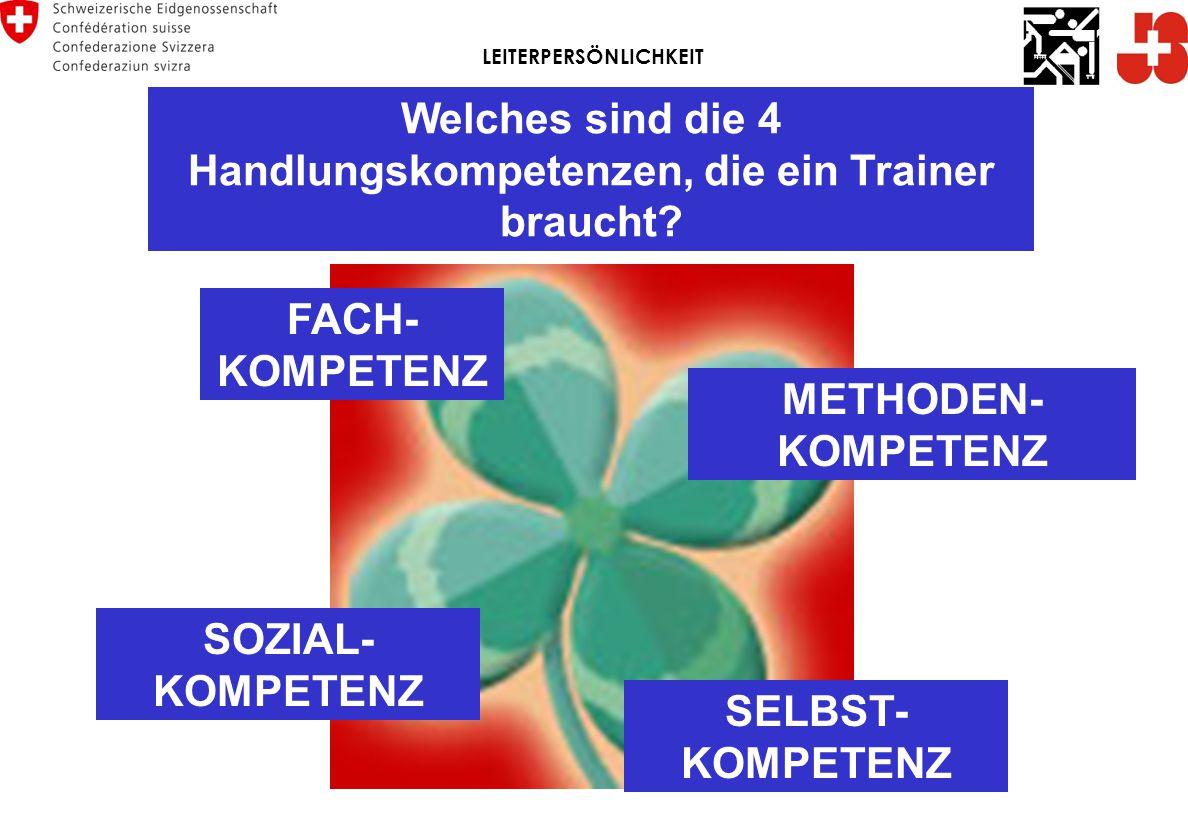 Welches sind die 4 Handlungskompetenzen, die ein Trainer braucht.