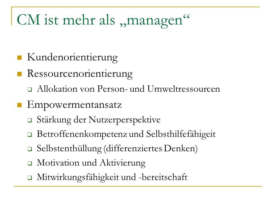 """CM ist mehr als """"managen"""" Kundenorientierung Ressourcenorientierung  Allokation von Person- und Umweltressourcen Empowermentansatz  Stärkung der Nut"""