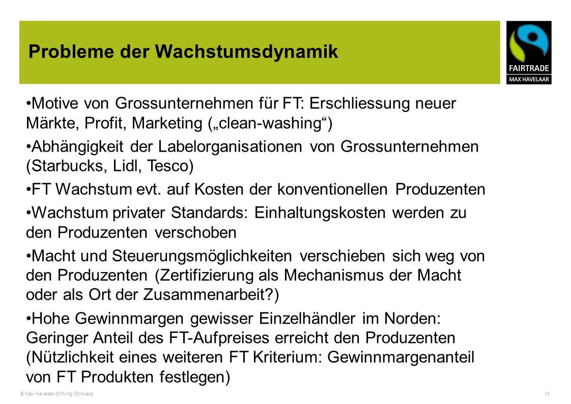 © Max Havelaar-Stiftung (Schweiz) 14 Probleme der Wachstumsdynamik Motive von Grossunternehmen für FT: Erschliessung neuer Märkte, Profit, Marketing (
