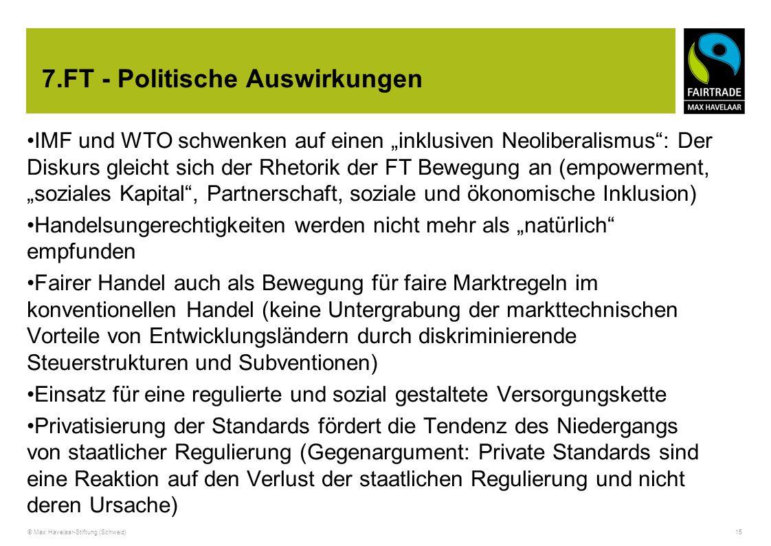 """© Max Havelaar-Stiftung (Schweiz) 15 7.FT - Politische Auswirkungen IMF und WTO schwenken auf einen """"inklusiven Neoliberalismus"""": Der Diskurs gleicht"""