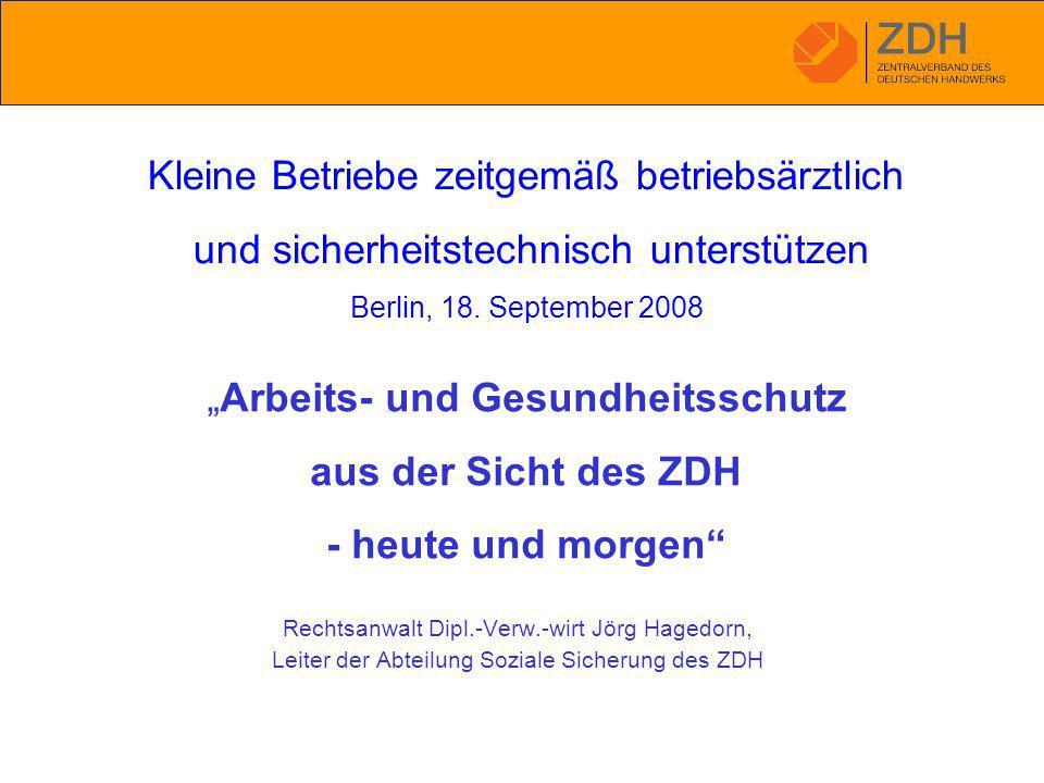 """Rechtsanwalt Dipl.-Verw.-wirt Jörg Hagedorn, Leiter der Abteilung Soziale Sicherung des ZDH """"Arbeits- und Gesundheitsschutz aus der Sicht des ZDH - heute und morgen Kleine Betriebe zeitgemäß betriebsärztlich und sicherheitstechnisch unterstützen Berlin, 18."""