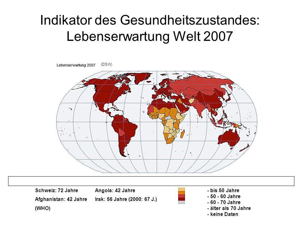 Indikator des Gesundheitszustandes: Lebenserwartung Welt 2007 - bis 50 Jahre - 50 - 60 Jahre - 60 - 70 Jahre - älter als 70 Jahre - keine Daten Schwei