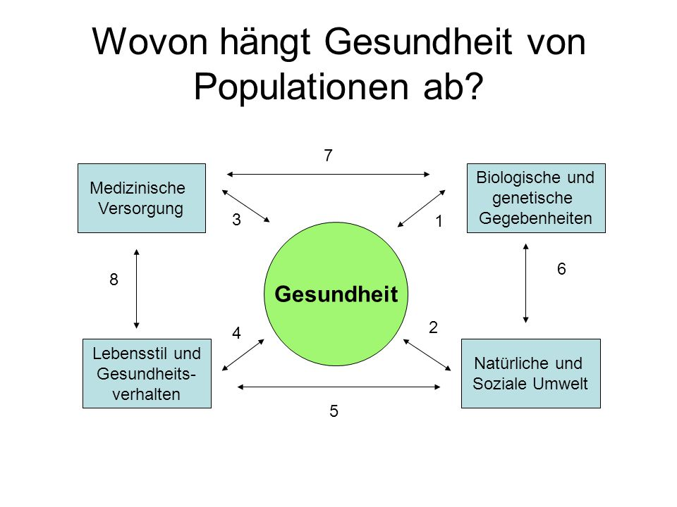 Wovon hängt Gesundheit von Populationen ab? Gesundheit Medizinische Versorgung Lebensstil und Gesundheits- verhalten Biologische und genetische Gegebe