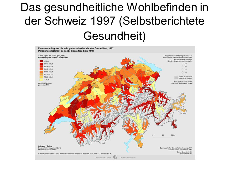 Das gesundheitliche Wohlbefinden in der Schweiz 1997 (Selbstberichtete Gesundheit)