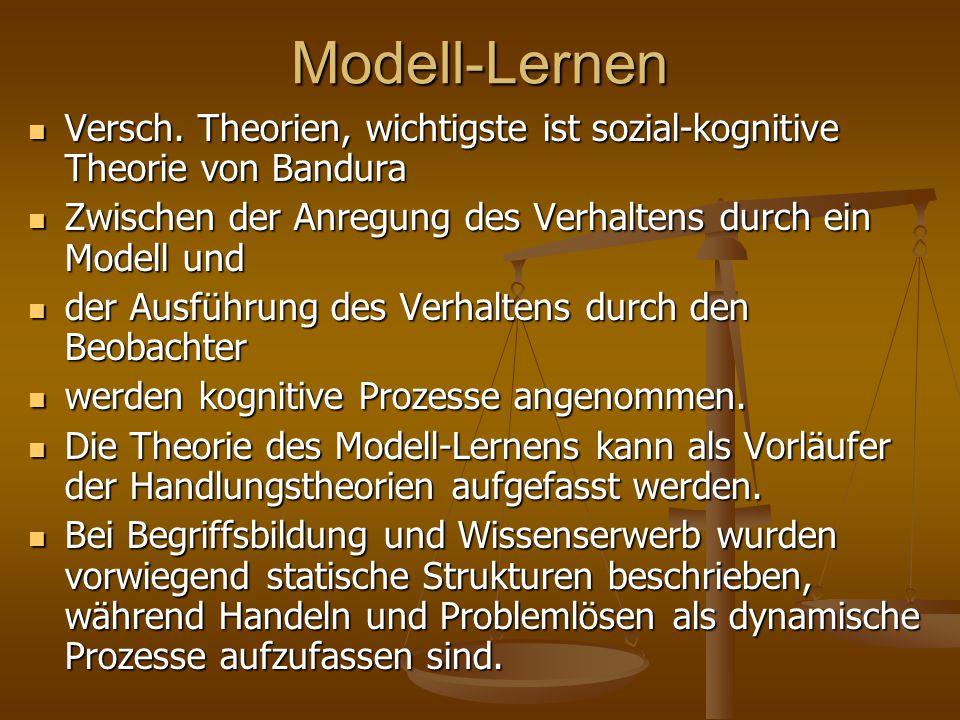 Modell-Lernen Versch.Theorien, wichtigste ist sozial-kognitive Theorie von Bandura Versch.