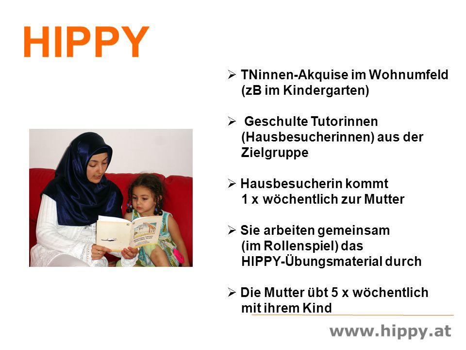 www.hippy.at  TNinnen-Akquise im Wohnumfeld (zB im Kindergarten)  Geschulte Tutorinnen (Hausbesucherinnen) aus der Zielgruppe  Hausbesucherin kommt