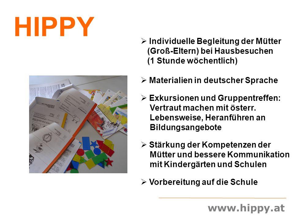 www.hippy.at  Individuelle Begleitung der Mütter (Groß-Eltern) bei Hausbesuchen (1 Stunde wöchentlich)  Materialien in deutscher Sprache  Exkursion