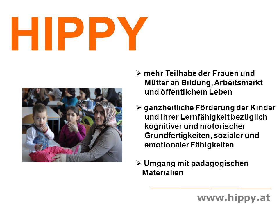 www.hippy.at HIPPY  mehr Teilhabe der Frauen und Mütter an Bildung, Arbeitsmarkt und öffentlichem Leben  ganzheitliche Förderung der Kinder und ihre