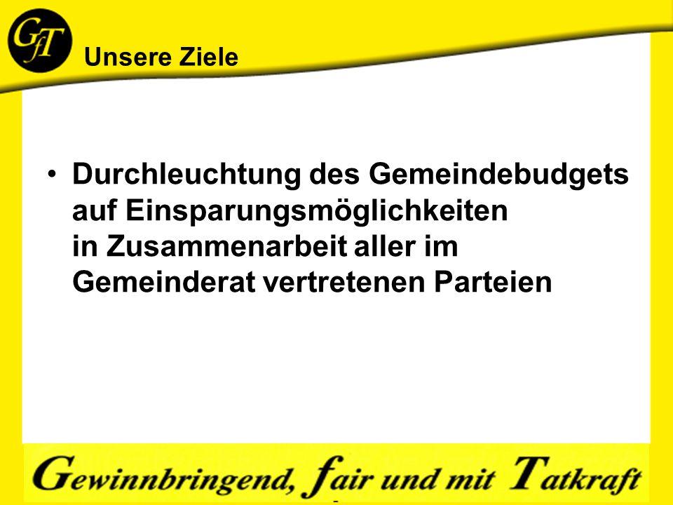 Unsere Ziele Durchleuchtung des Gemeindebudgets auf Einsparungsmöglichkeiten in Zusammenarbeit aller im Gemeinderat vertretenen Parteien