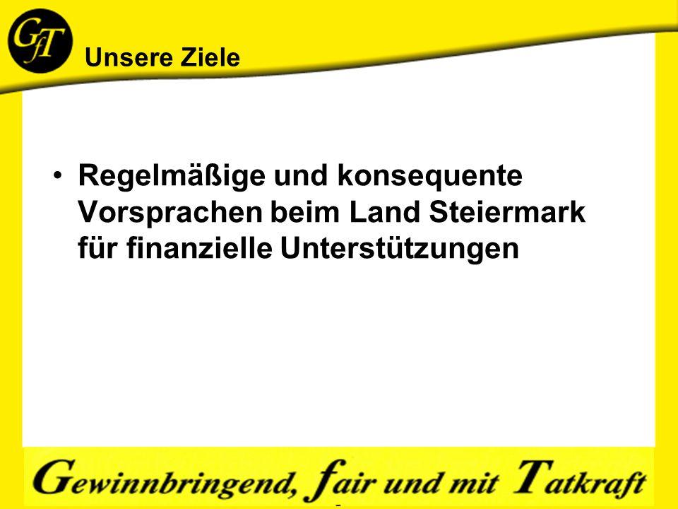 Unsere Ziele Regelmäßige und konsequente Vorsprachen beim Land Steiermark für finanzielle Unterstützungen