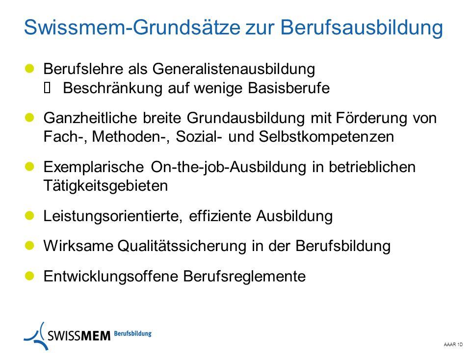 AAAR 1D Swissmem-Grundsätze zur Berufsausbildung Berufslehre als Generalistenausbildung  Beschränkung auf wenige Basisberufe Ganzheitliche breite Gru