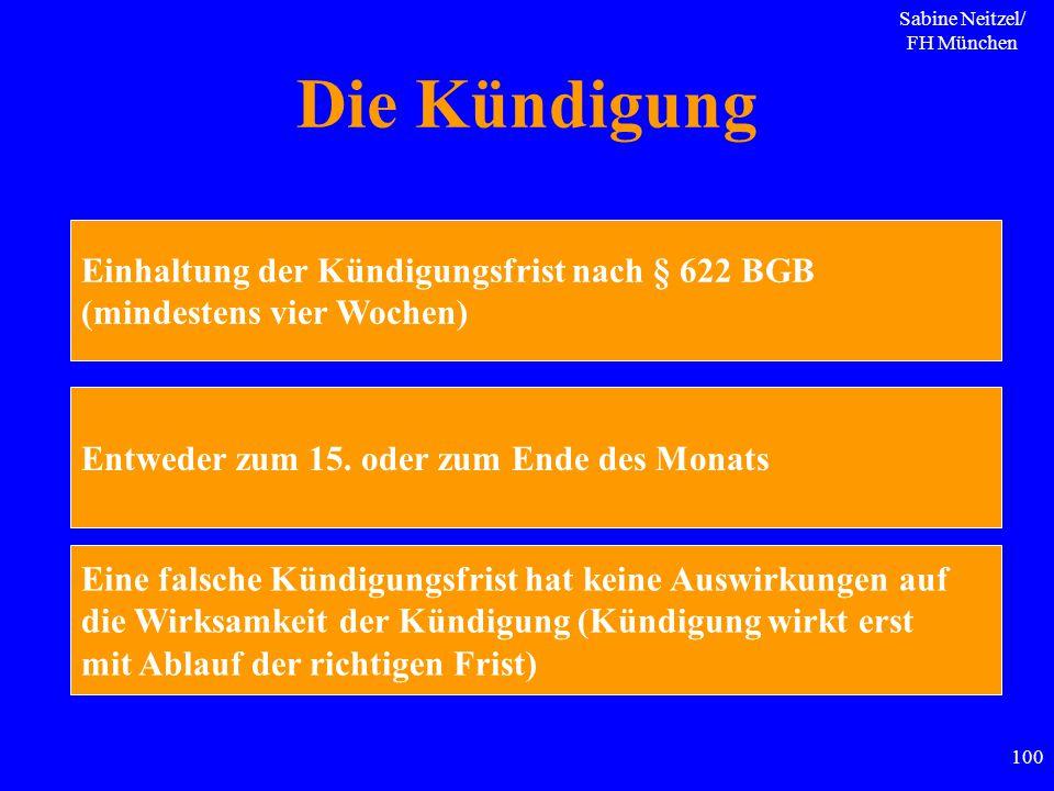 Sabine Neitzel/ FH München 100 Die Kündigung Einhaltung der Kündigungsfrist nach § 622 BGB (mindestens vier Wochen) Entweder zum 15. oder zum Ende des