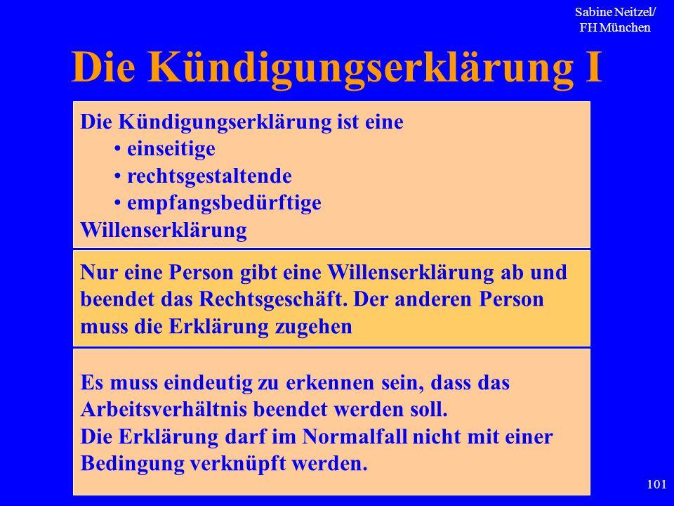 Sabine Neitzel/ FH München 101 Die Kündigungserklärung I Die Kündigungserklärung ist eine einseitige rechtsgestaltende empfangsbedürftige Willenserklä