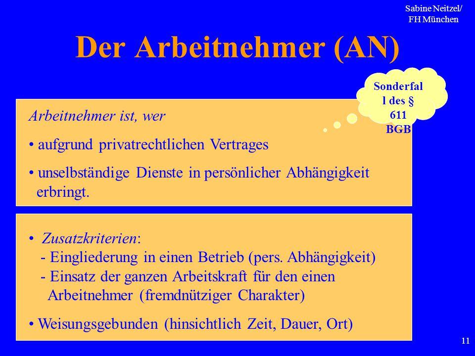 Sabine Neitzel/ FH München 11 Der Arbeitnehmer (AN) Arbeitnehmer ist, wer aufgrund privatrechtlichen Vertrages unselbständige Dienste in persönlicher