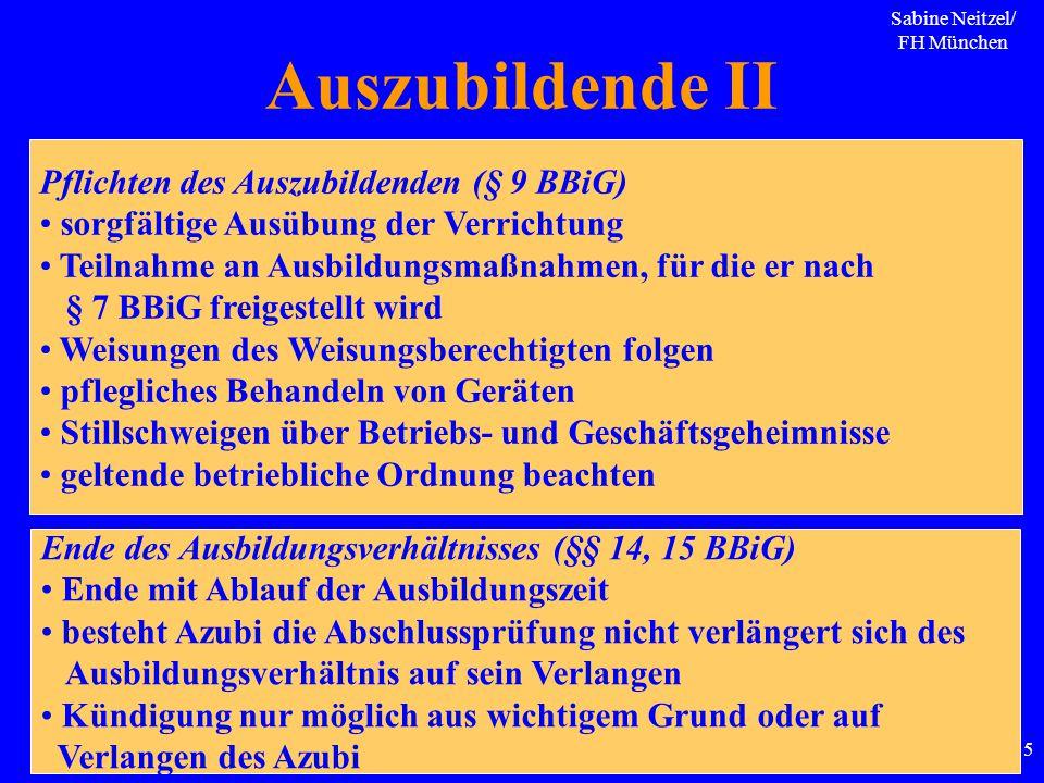 Sabine Neitzel/ FH München 115 Auszubildende II Pflichten des Auszubildenden (§ 9 BBiG) sorgfältige Ausübung der Verrichtung Teilnahme an Ausbildungsm
