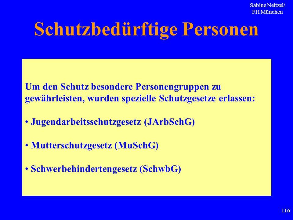 Sabine Neitzel/ FH München 116 Schutzbedürftige Personen Um den Schutz besondere Personengruppen zu gewährleisten, wurden spezielle Schutzgesetze erla