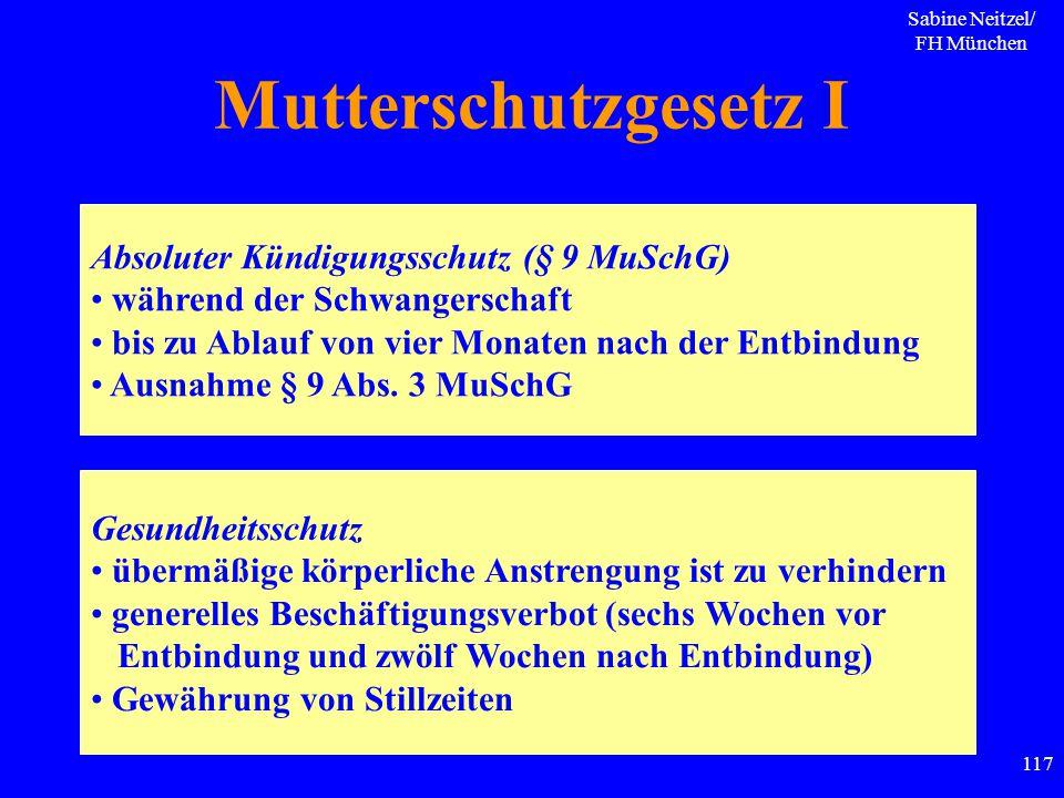 Sabine Neitzel/ FH München 117 Mutterschutzgesetz I Absoluter Kündigungsschutz (§ 9 MuSchG) während der Schwangerschaft bis zu Ablauf von vier Monaten