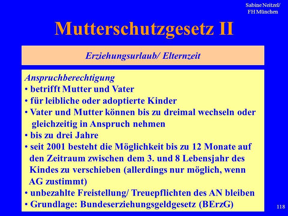 Sabine Neitzel/ FH München 118 Mutterschutzgesetz II Anspruchberechtigung betrifft Mutter und Vater für leibliche oder adoptierte Kinder Vater und Mut