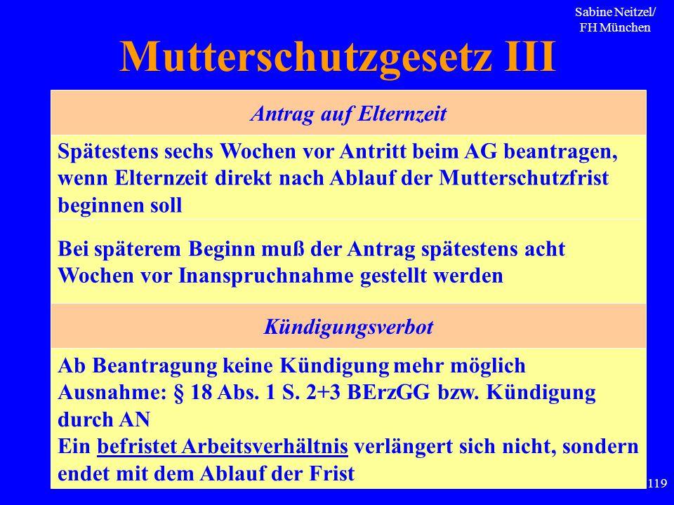 Sabine Neitzel/ FH München 119 Mutterschutzgesetz III Spätestens sechs Wochen vor Antritt beim AG beantragen, wenn Elternzeit direkt nach Ablauf der M