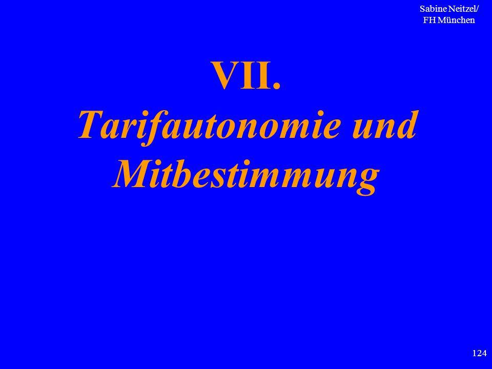 Sabine Neitzel/ FH München 124 VII. Tarifautonomie und Mitbestimmung