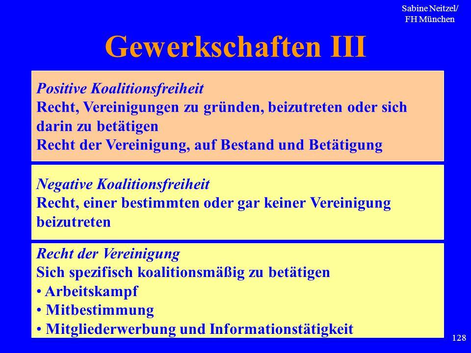Sabine Neitzel/ FH München 128 Gewerkschaften III Positive Koalitionsfreiheit Recht, Vereinigungen zu gründen, beizutreten oder sich darin zu betätige