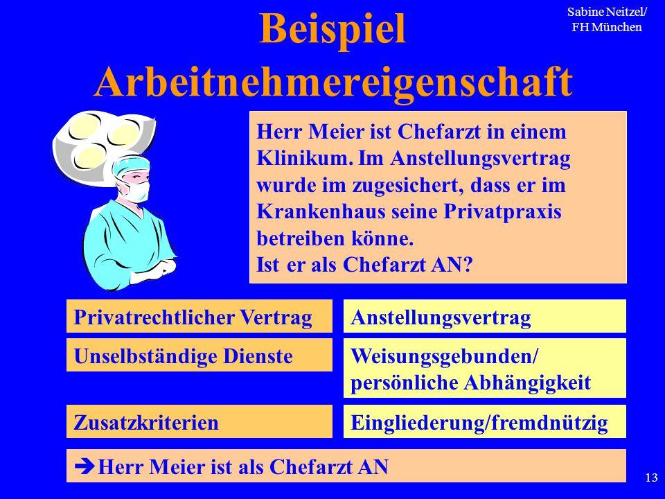 Sabine Neitzel/ FH München 13 Beispiel Arbeitnehmereigenschaft Herr Meier ist Chefarzt in einem Klinikum. Im Anstellungsvertrag wurde im zugesichert,