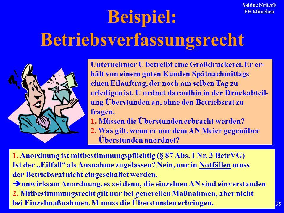 Sabine Neitzel/ FH München 135 Beispiel: Betriebsverfassungsrecht Unternehmer U betreibt eine Großdruckerei. Er er- hält von einem guten Kunden Spätna