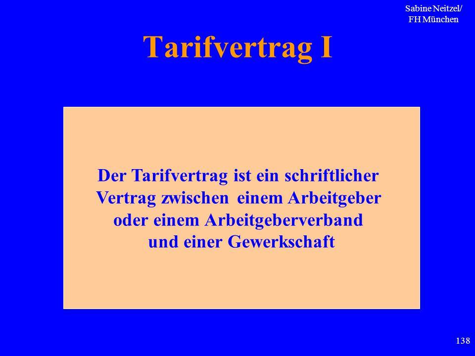 Sabine Neitzel/ FH München 138 Tarifvertrag I Der Tarifvertrag ist ein schriftlicher Vertrag zwischen einem Arbeitgeber oder einem Arbeitgeberverband
