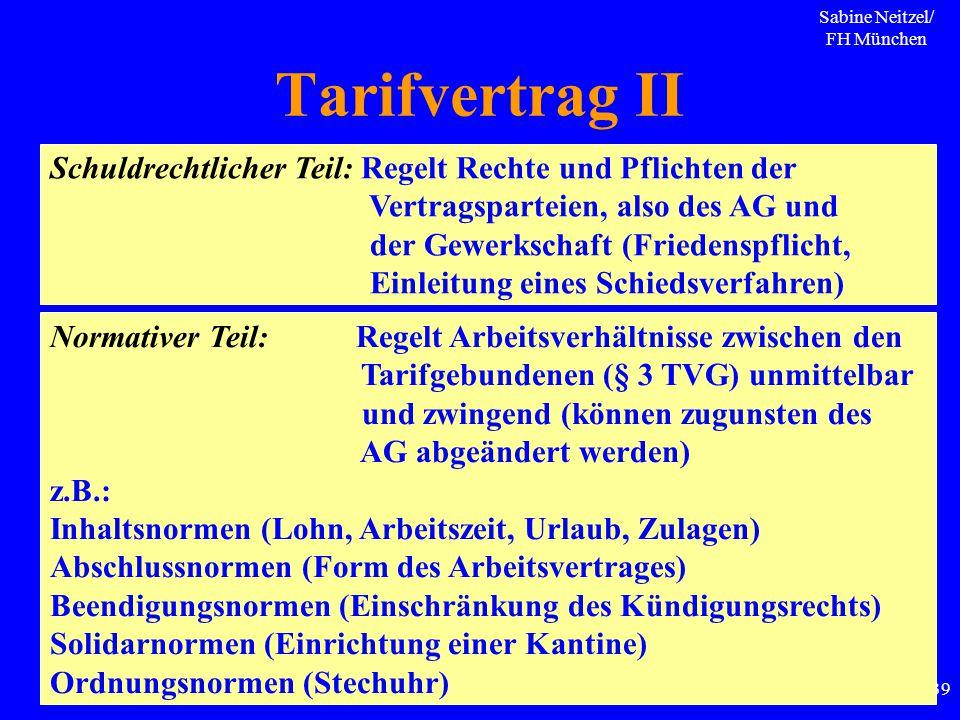 Sabine Neitzel/ FH München 139 Tarifvertrag II Schuldrechtlicher Teil: Regelt Rechte und Pflichten der Vertragsparteien, also des AG und der Gewerksch