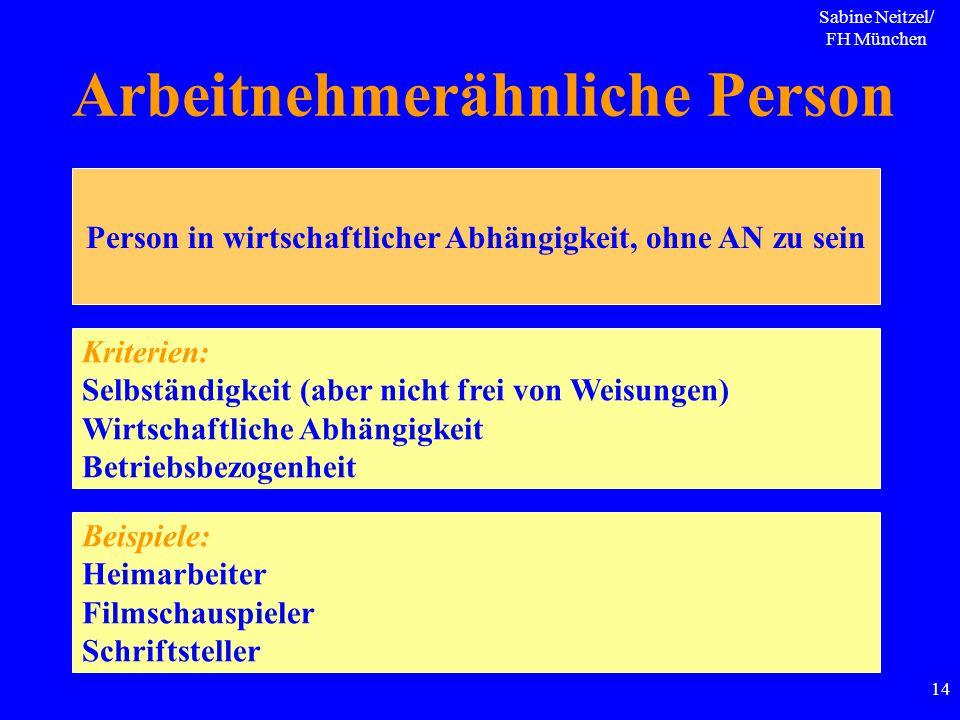 Sabine Neitzel/ FH München 14 Arbeitnehmerähnliche Person Person in wirtschaftlicher Abhängigkeit, ohne AN zu sein Kriterien: Selbständigkeit (aber ni