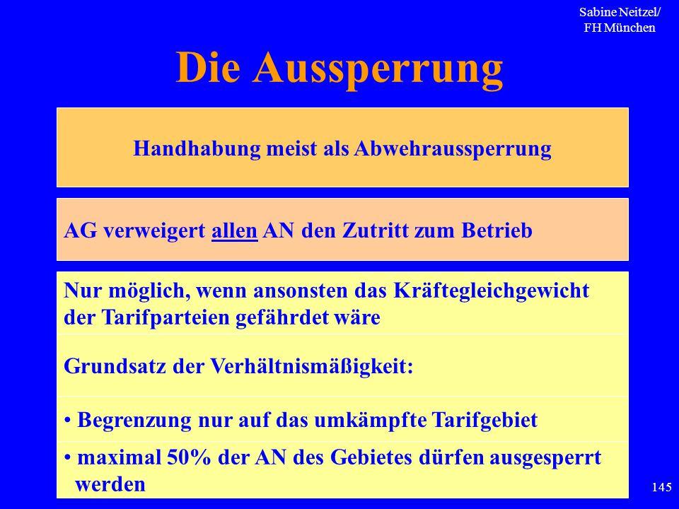 Sabine Neitzel/ FH München 145 Die Aussperrung Handhabung meist als Abwehraussperrung AG verweigert allen AN den Zutritt zum Betrieb Nur möglich, wenn