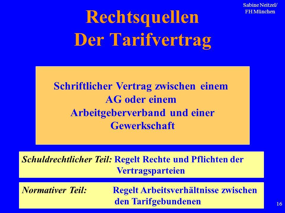 Sabine Neitzel/ FH München 16 Rechtsquellen Der Tarifvertrag Schriftlicher Vertrag zwischen einem AG oder einem Arbeitgeberverband und einer Gewerksch