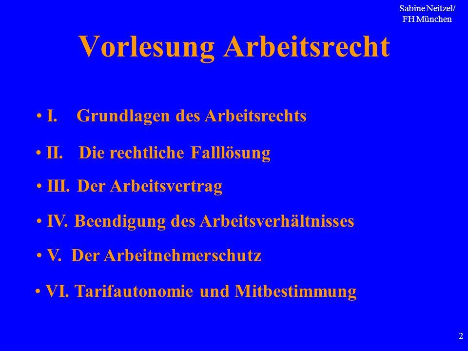 Sabine Neitzel/ FH München 2 Vorlesung Arbeitsrecht I. Grundlagen des Arbeitsrechts II. Die rechtliche Falllösung III. Der Arbeitsvertrag IV. Beendigu