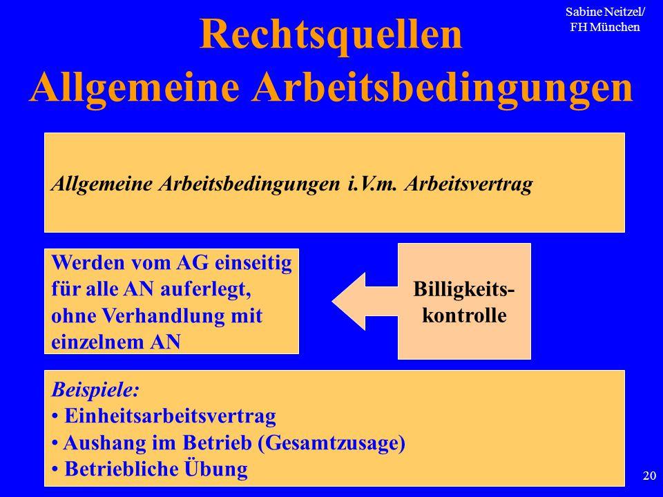 Sabine Neitzel/ FH München 20 Allgemeine Arbeitsbedingungen i.V.m. Arbeitsvertrag Werden vom AG einseitig für alle AN auferlegt, ohne Verhandlung mit