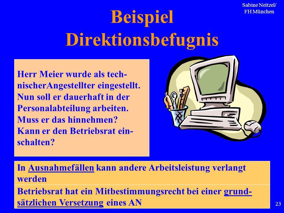 Sabine Neitzel/ FH München 23 Beispiel Direktionsbefugnis Herr Meier wurde als tech- nischerAngestellter eingestellt. Nun soll er dauerhaft in der Per