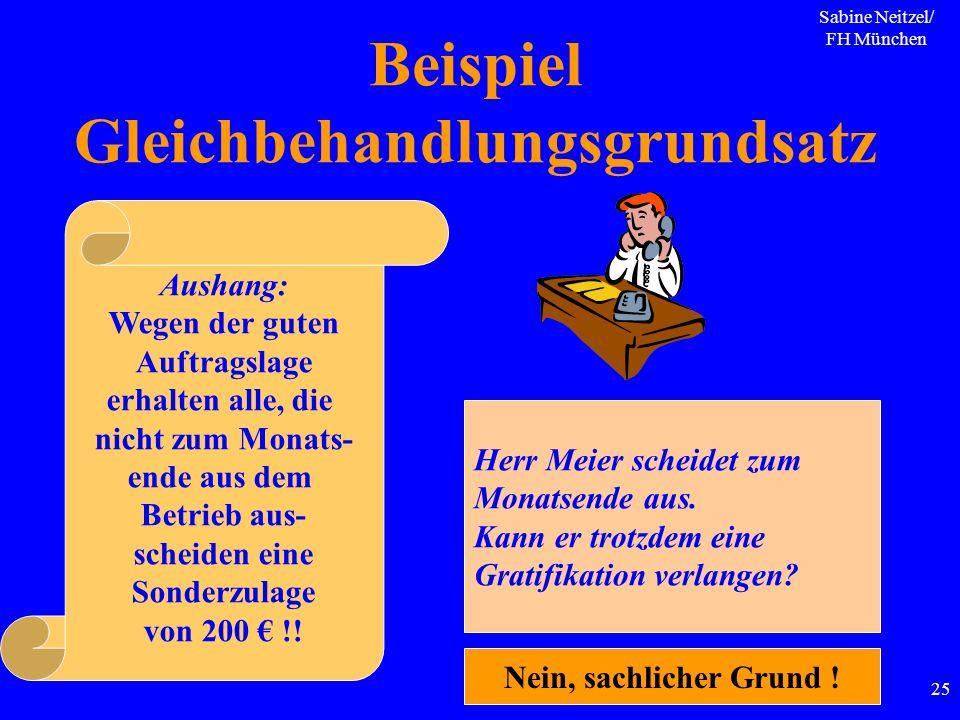 Sabine Neitzel/ FH München 25 Beispiel Gleichbehandlungsgrundsatz Aushang: Wegen der guten Auftragslage erhalten alle, die nicht zum Monats- ende aus