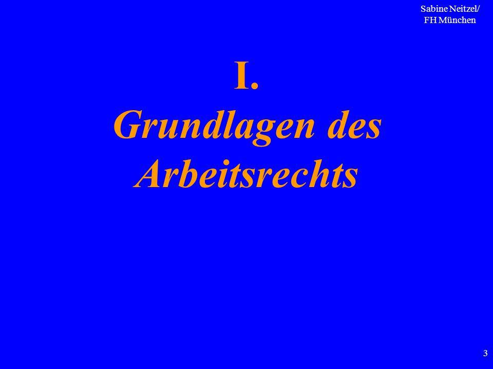 Sabine Neitzel/ FH München 3 I. Grundlagen des Arbeitsrechts