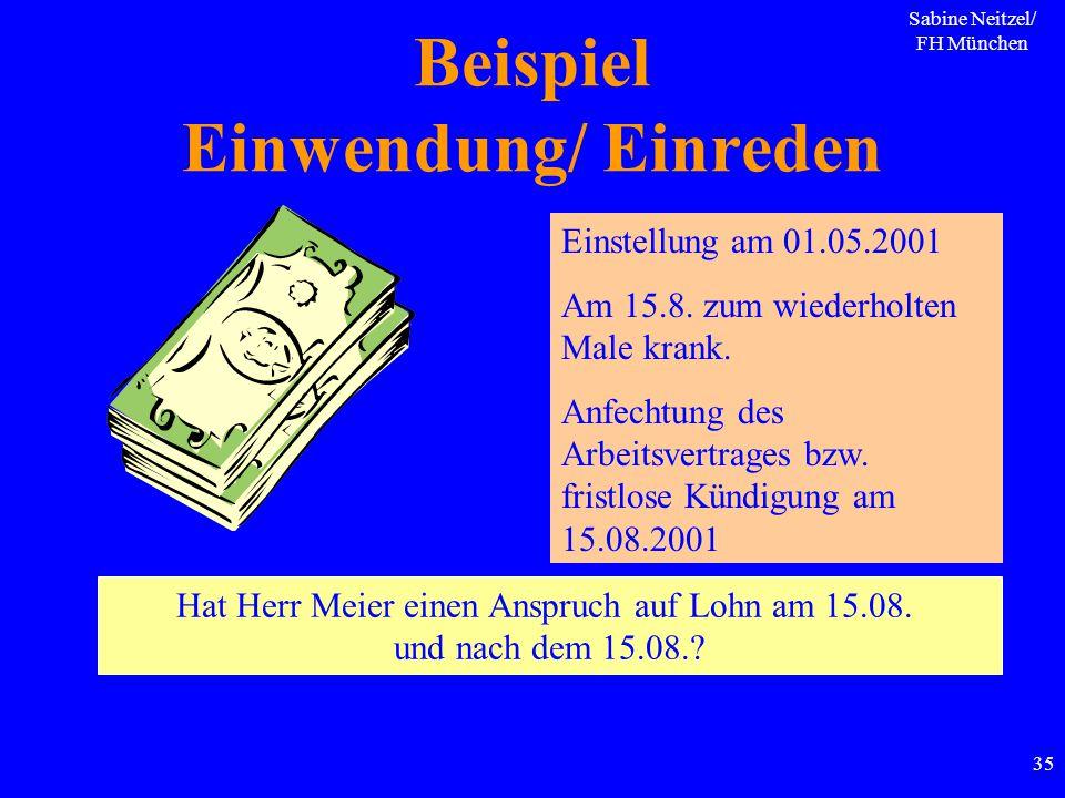 Sabine Neitzel/ FH München 35 Beispiel Einwendung/ Einreden Einstellung am 01.05.2001 Am 15.8. zum wiederholten Male krank. Anfechtung des Arbeitsvert