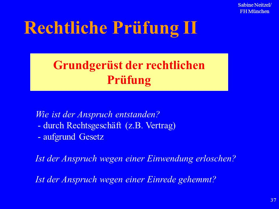 Sabine Neitzel/ FH München 37 Rechtliche Prüfung II Grundgerüst der rechtlichen Prüfung Wie ist der Anspruch entstanden? - durch Rechtsgeschäft (z.B.