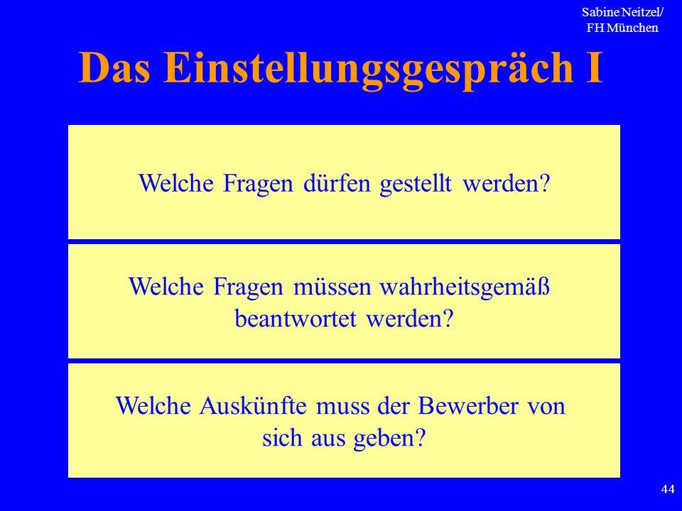 Sabine Neitzel/ FH München 44 Das Einstellungsgespräch I Welche Fragen dürfen gestellt werden? Welche Fragen müssen wahrheitsgemäß beantwortet werden?